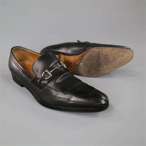 silver loafers mens s gucci size 8 5 black leather silver horsebit pointed