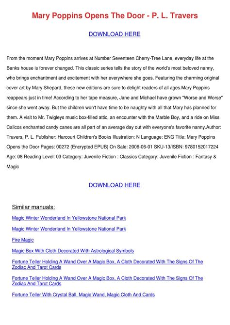 descargar pdf mary poppins opens the door mary poppins 3 libro mary poppins opens the door p l travers by kassiehoman issuu