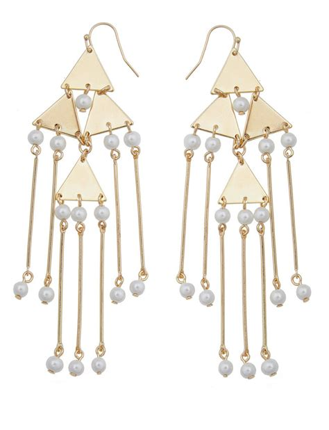 Pearl Triangle Earring triangle pearl drop chandellier earrings s plus
