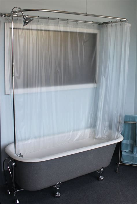 Bathtub Curtain by Claw Foot Tub Wall Mounted Shower Curtain Rod Add A Shower