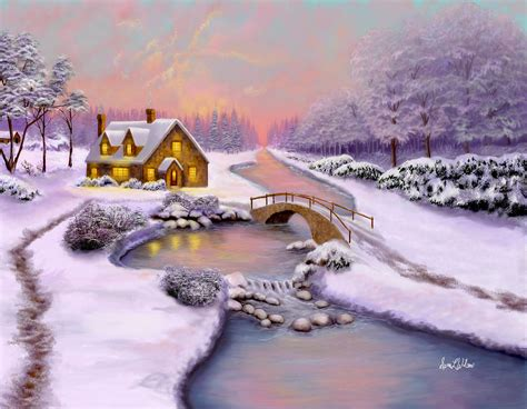 winter cottage winter cottage painting by wilson