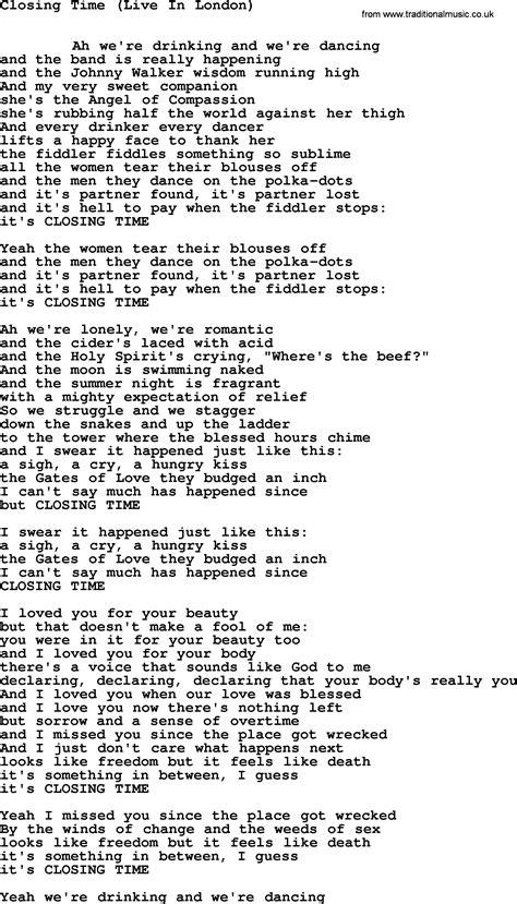 testo closing time leonard cohen song closing time lyrics