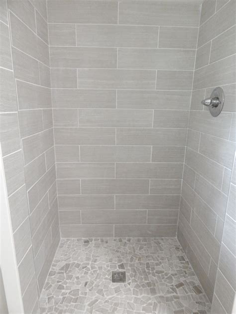 everything from lowe's: shower walls: 6x24 leonia silver