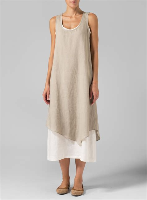 clothing linen layered dress