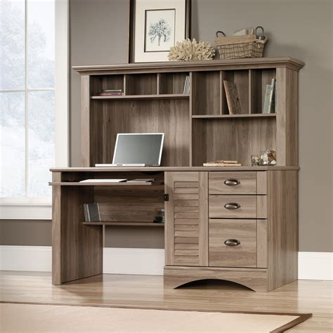 sauder harbor view computer desk and hutch harbor view computer desk with hutch 415109 sauder