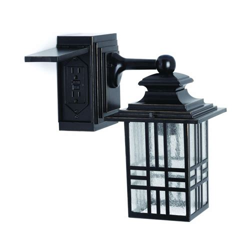 outdoor wall l with outlet hton bay mission style black with bronze outdoor