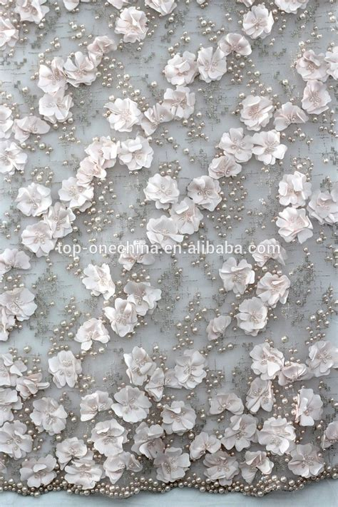 Kain Organza 3d textile 3d flower lace embroidered fabric 3d bead