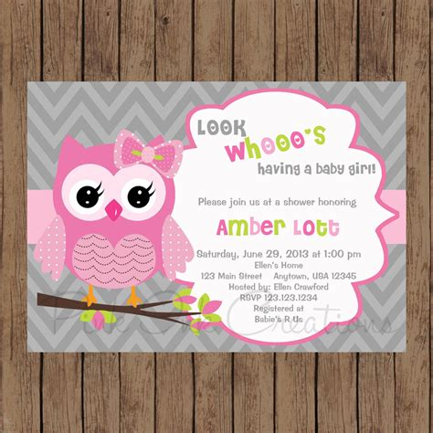 Free Printable Owl Baby Shower Invitations by Owl Birthday Invitation Pink Gray Owl Baby Shower Invitation