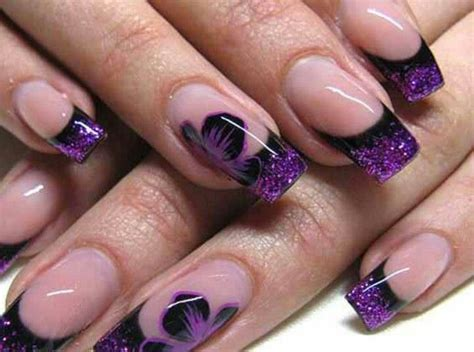 purple flower nails purple and black nails pinterest purple nails and