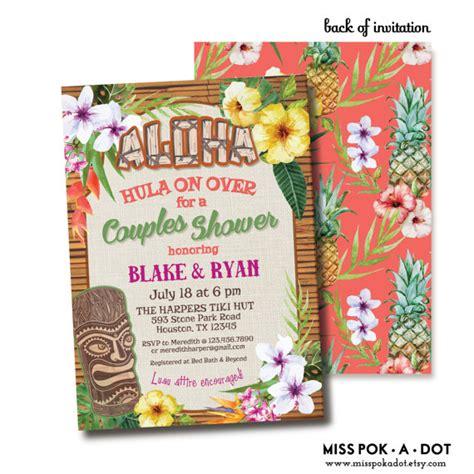 Come With Me Luau Dinner For 8 Invites by Hawaiian Aloha Tiki Luau Tropical Flower Invitation