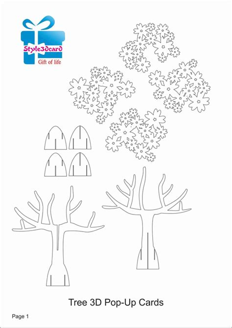 3d pop up cards template tree 3d pop up card kirigami pattern 1 pop up i