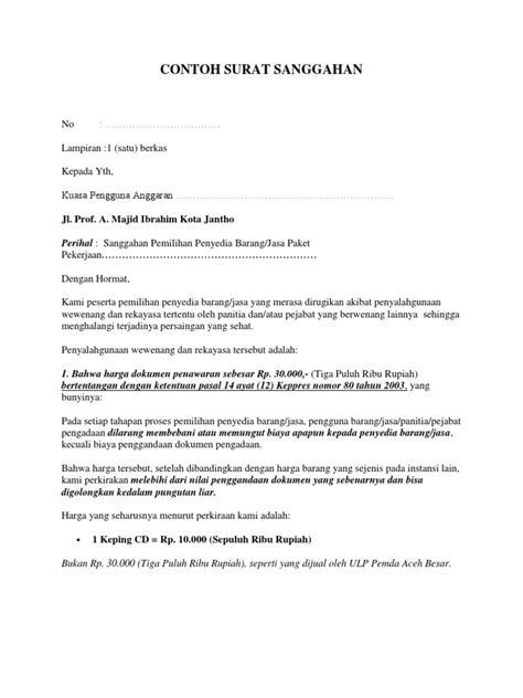 contoh surat sanggahan