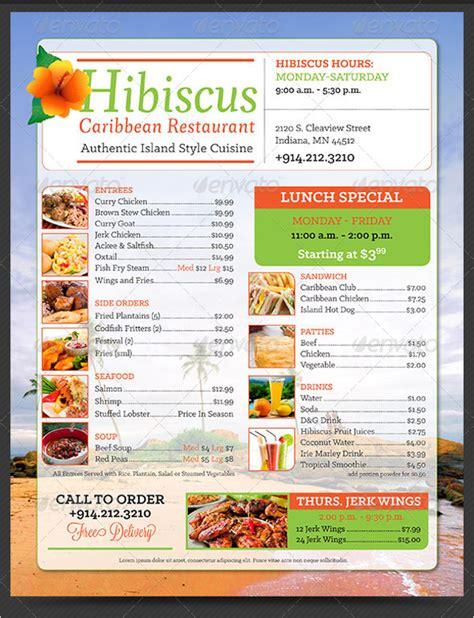 free take out menu templates take out menu printing
