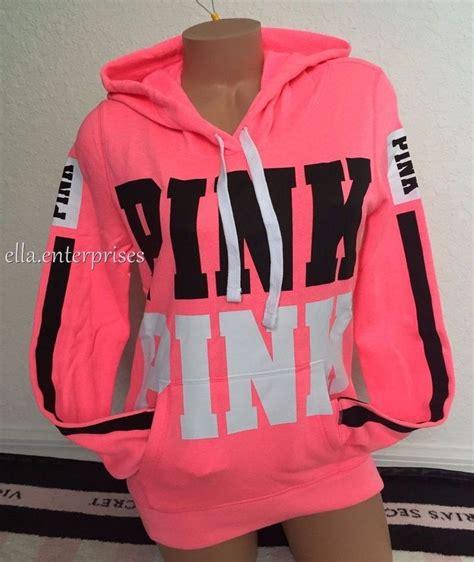 Make Screet Jacket Hoodie s secret pink bright neon pink black white logo pullover hoodie m nip ebay