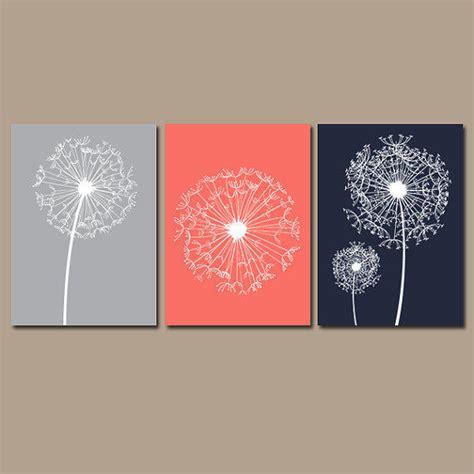 dandelion wall art coral navy gray flower  trm design