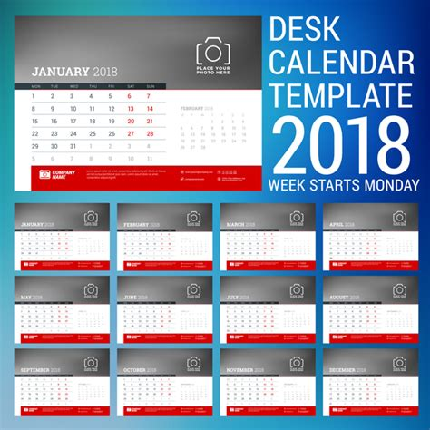 desk calendar template psd 2018 desk calendar template 2018 vector 01 vector calendar
