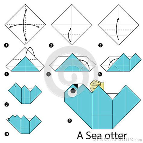 Otter Origami - step by step how to make origami a sea otter