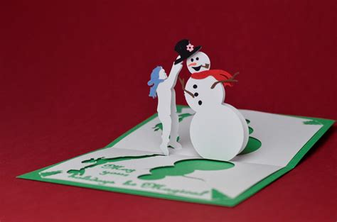 magical snowman pop up card template