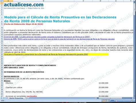 C 225 Lculo De La Renta Presuntiva En El Impuesto De Renta De | renta presuntiva 2016 renta presuntiva 2016 tabla de