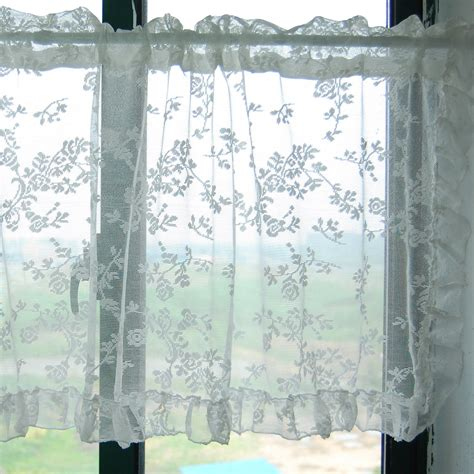 cafe curtains bathroom floral white embroidered organza sheer curtain d202