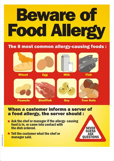 printable allergy poster food safety poster beware of food allergy safety