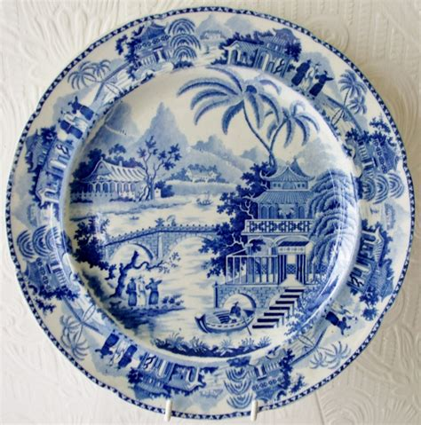 blue and white pattern plates antique english georgian blue and white transfer quot bridge