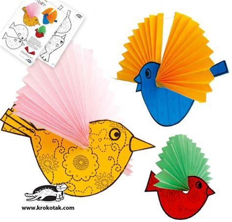 Paper Birds Craft - krokotak paper birds