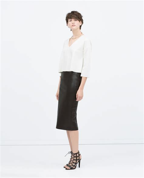 zara faux leather midi pencil skirt faux leather midi