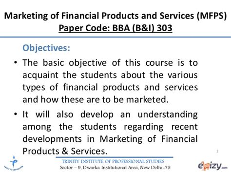 Marketing Financial Service marketing of financial products and services