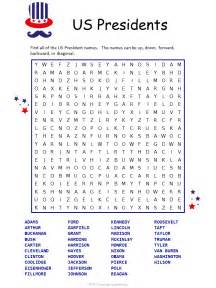 Us presidents word search