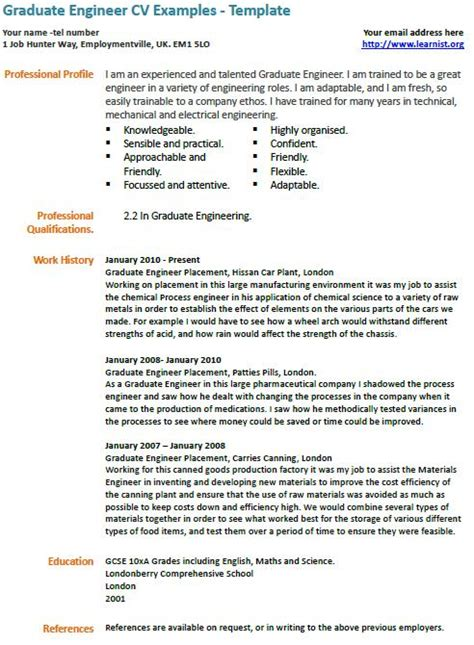 cv template engineering student graduate engineer cv exle learnist org