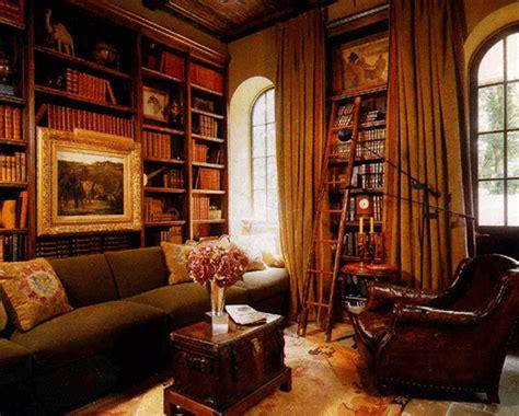 spanish library mediterranean home office orange
