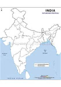 India Physical Map Outline In A4 Size by Sc India Projects