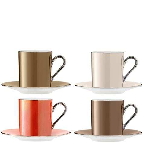 Kitchen Cups by Set Of 4 Lsa Polka Espresso Coffee Cups Saucers Metallics
