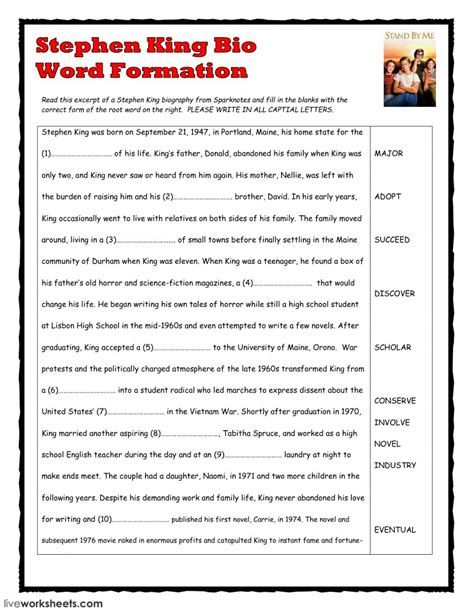 biography exercises pdf word formation stephen king bio interactive worksheet