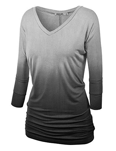 Sale Blouse Top Atasan Wochy Ll ll wt1113 womens v neck 3 4 sleeve dip dye drape dolman top with side shirring l black apparel