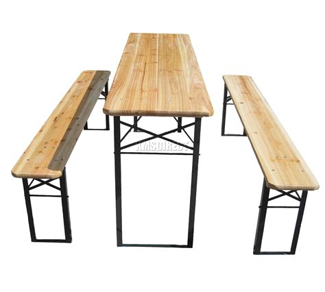 Folding Wooden Garden Table Wooden Folding Table Bench Set Trestle Pub Garden Furniture Steel Leg Ebay