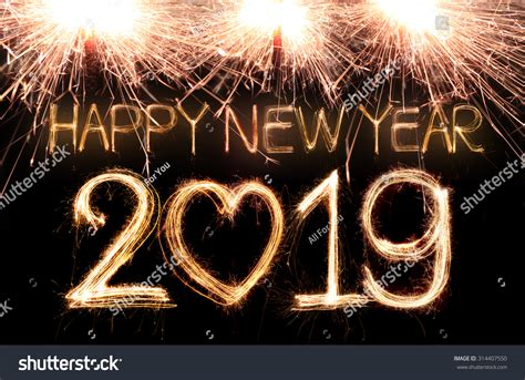new year 2019 happy new year 2019 written sparkle stock photo 314407550