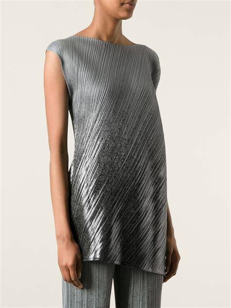 Miyake Top lyst pleats issey miyake asymmetric pleated top in metallic