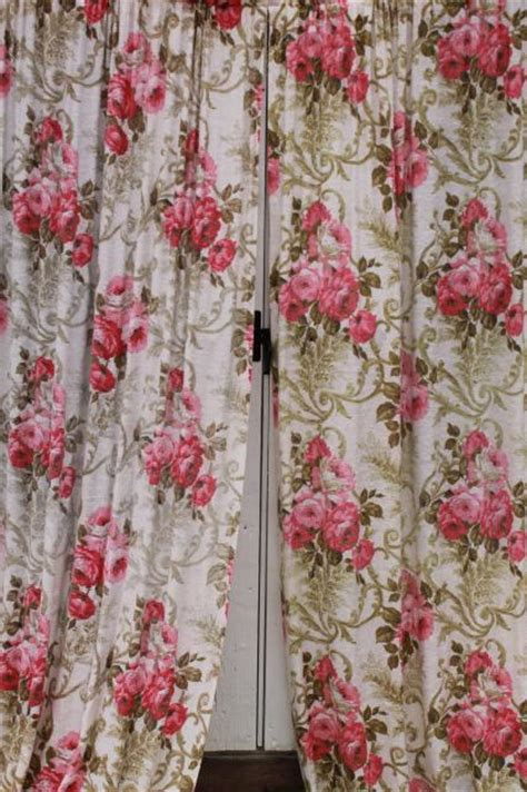 Pink Floral Curtains Vintage Roses Print Rayon Barkcloth Curtain Panels Shabby Cottage Chic Pink Floral Drapes