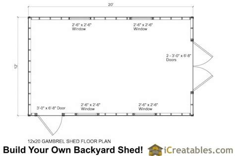 12 x 20 floor plans 12x20 gambrel shed plans 12x20 barn shed plans