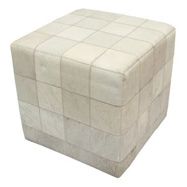 cowhide cube pouf patchwork mosaic brown white fur home