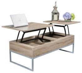 Ditmar lift top storage coffee table natural brown contemporary