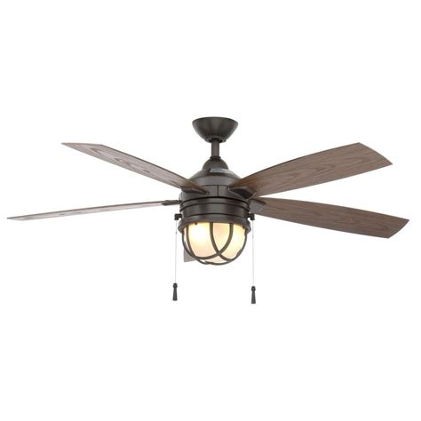 Hton Bay Seaport 52 In Indoor Outdoor Natural Iron Outdoor Ceiling Fans With Lights