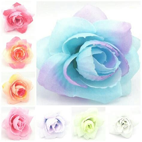 Free Shipping 7 Flower Heads Artificial Flowers 4cm Artificial Silk Flower Heads Wedding Hair