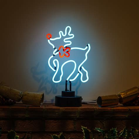neon christmas decorations rudolph reindeer festive neon sculpture icon neon