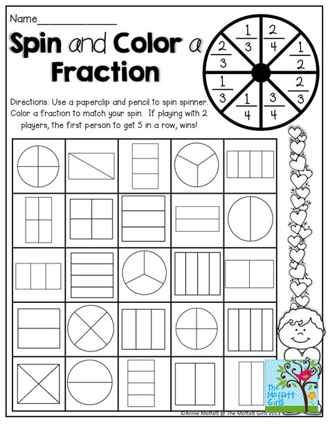 printable games for third graders spin and color a fraction tons of hands on and fun