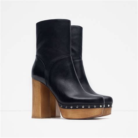 high heel leather boot zara high heel leather ankle boots with studs in black lyst