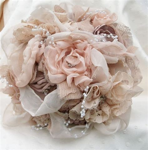 fabric bouquet vintage inspired shabby chic fabric wedding bouquet b
