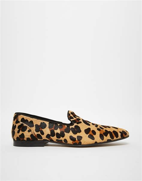 leopard mens loafers asos loafers in leopard skin effect in black for lyst